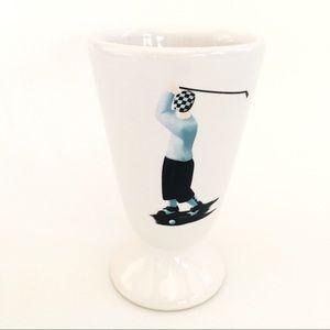 Vintage Transfer Ware Golfer on Ceramic Vase